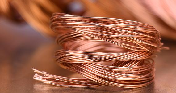 Eine Rolle Kupfer Draht in Nahaufnahme