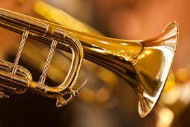 Großaufnahme einer Messing Trompete